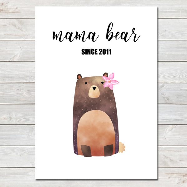 Mothers Day Print 'Mama Bear' Personalised Poster Gift for Mum