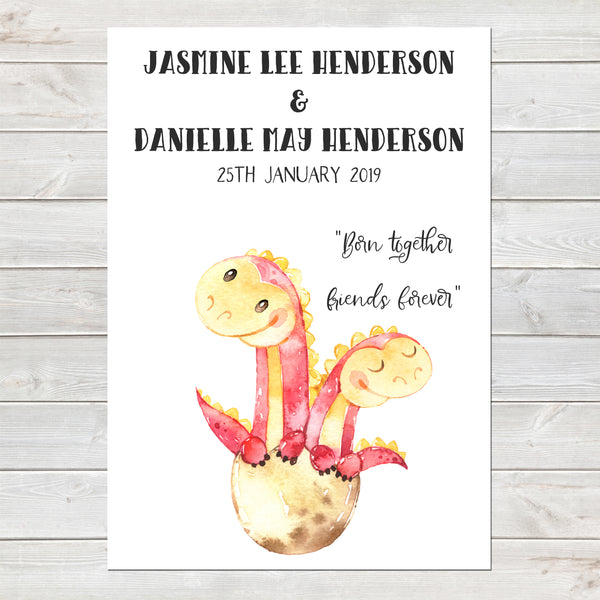 Baby Dinosaur Twins Print, Cute Birth Announcement, Girls Personalised Gift A4 or A3