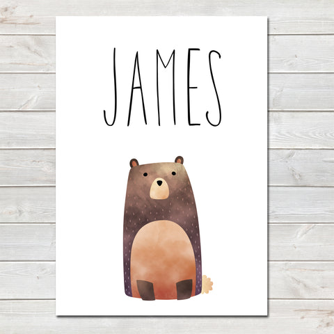 Brown Bear Children's Poster, Personalised White Nursery Print- A4