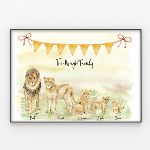 Lion Family Print, Wall Art Gift for Home Personalised in A3 or A4
