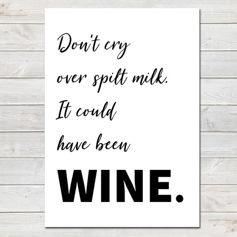 Mothers Day Print Funny Wine Quote, Kitchen Poster Gift for Mum