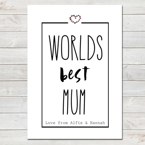 Mothers Day Print 'Worlds Best Mum' Fun Personalised Poster Gift for Her
