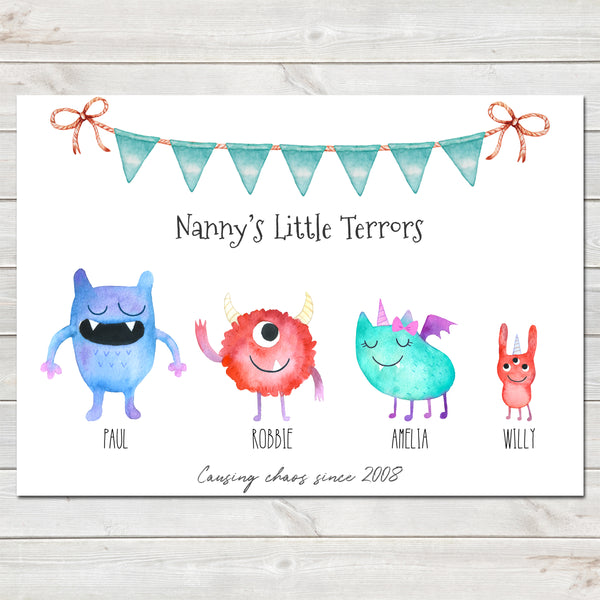 Little Monsters Children Family Print, Personalised Poster Gift A3 or A4