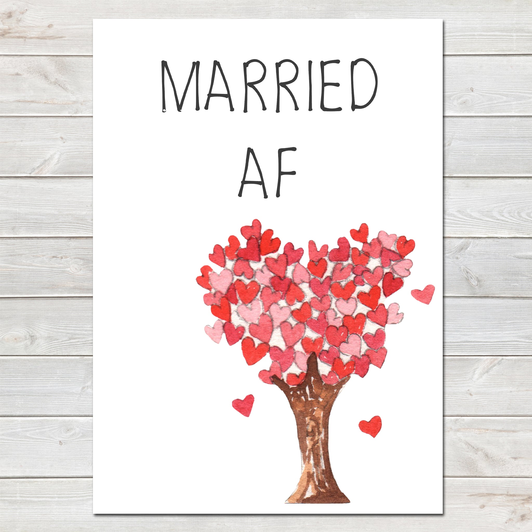 Wedding Party Married AF (As F***) Funny Tree of Hearts Poster / Photo Prop / Sign