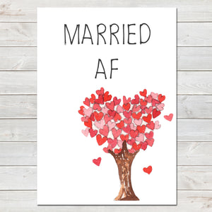 Wedding Party Married AF (As F***) Funny Tree of Hearts Poster / Photo Prop / Sign- A4