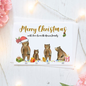 Personalised Christmas Cards Packs of Ten, Bear Family, Free Envelopes