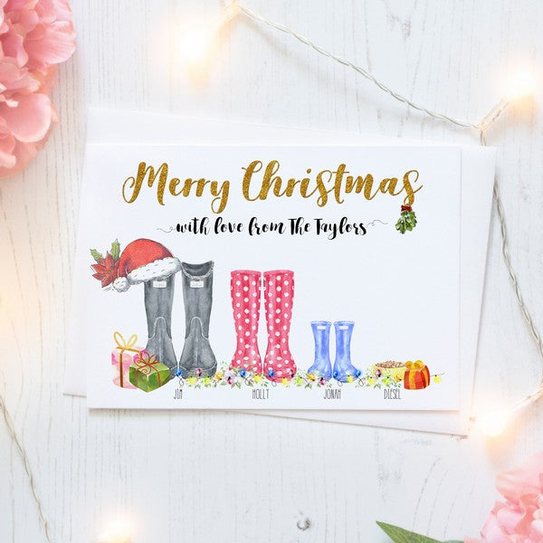 Personalised Christmas Cards Packs of Ten, Family Wellington Boots, Free Envelopes
