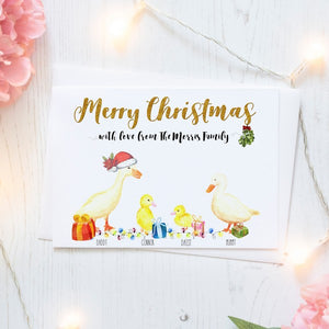Personalised Christmas Cards Packs of Ten, Duck Family, Free Envelopes