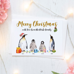 Personalised Christmas Cards Packs of Ten, Penguin Family, Free Envelopes