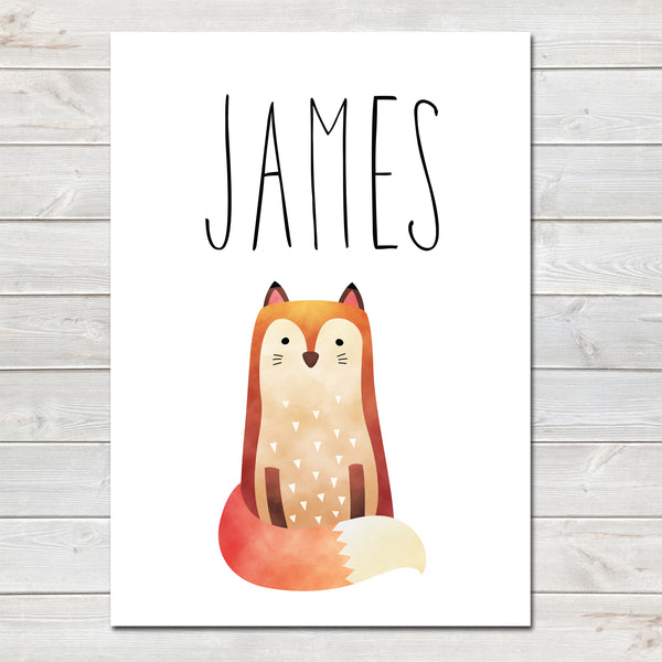 Fox Children's Poster, Personalised White Nursery Print- A4
