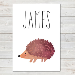 Hedgehog Children's Poster, Personalised White Nursery Print A4 or A3