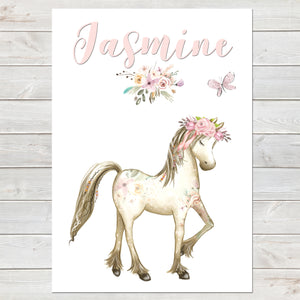 Boho Horse Floral Name Print, Personalised Pony Bedroom Print for Kids