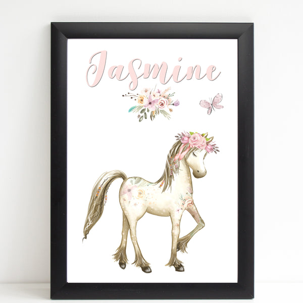 Boho Horse Floral Name Print, Personalised Pony Bedroom Print for Kids, A4 or A3