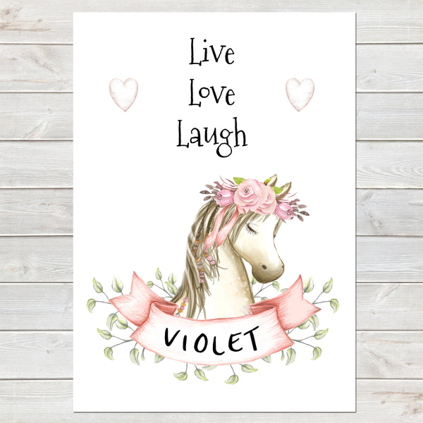 Pretty Horse Name Print with Banner, Personalised Pony Bedroom Print for Kids, A4 or A3