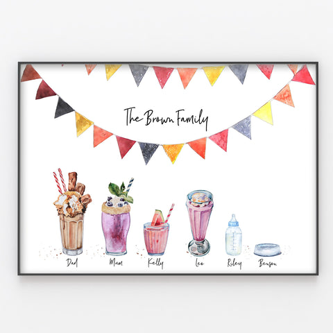 Milkshake Family Print, Personalised Desserts Wall Art Gift A3 or A4