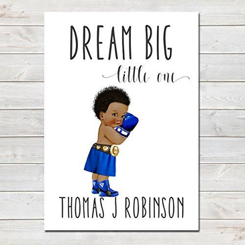 Dream Big Little One Personalised Poster Little Boy Boxer Afro- CLICK TO SEE MORE COLOURS- A4