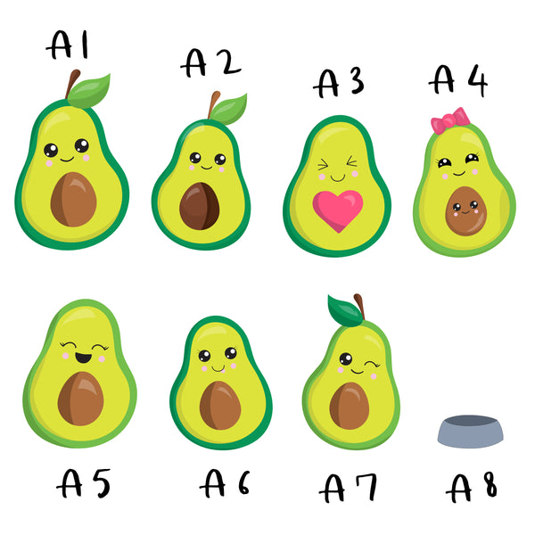 Avocado Family Print, Wall Art Gift for Home Personalised in A3 or A4