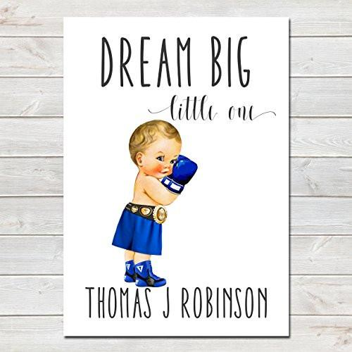 Dream Big Little One Personalised Poster Little Boy Boxer Blonde Hair