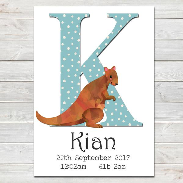 Personalised Boys Initial 'A-Z' Print, Nursery Bedroom, New Baby Gift
