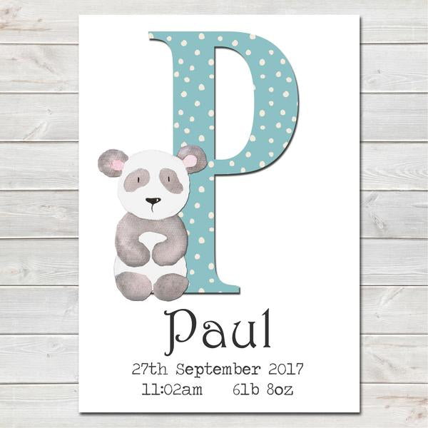 Personalised Boys Initial 'A-Z' Print, Nursery Bedroom, New Baby Gift A4