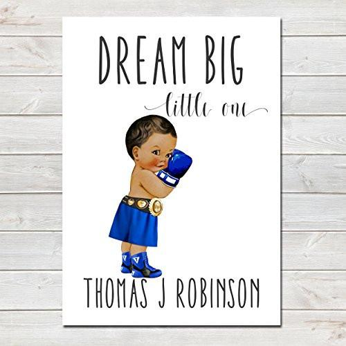 Dream Big Little One Personalised Poster Little Boy Boxer Brown Skin