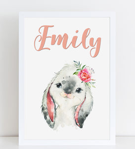 Baby Bunny Print, Cute Personalised Animal Print for Kids, A4 or A3