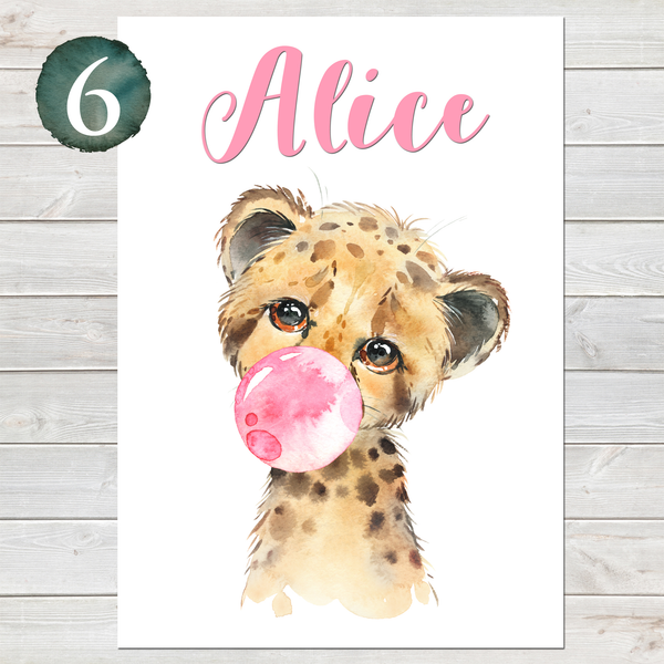 Baby Cheetah Print, Cute Personalised Animal Print for Kids, A4 or A3