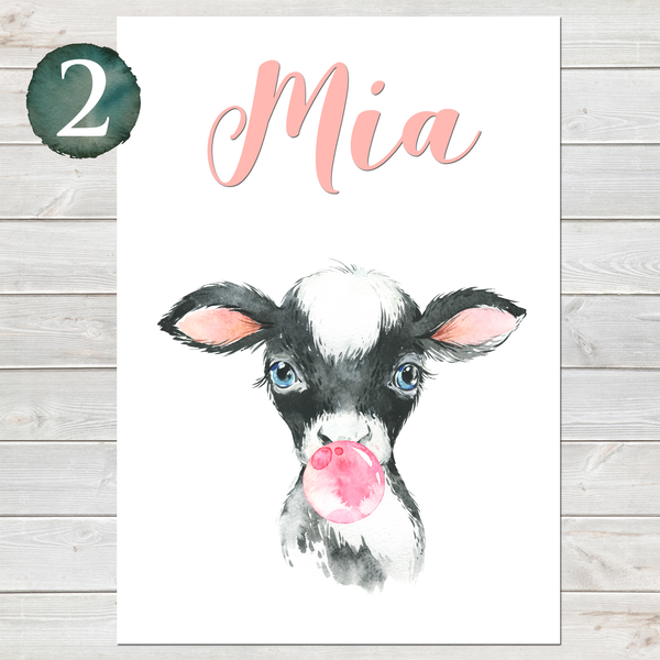 Baby Cow Print, Cute Personalised Animal Print for Kids