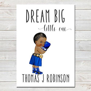 Dream Big Little One Personalised Poster Little Boy Boxer Dark Brown Skin