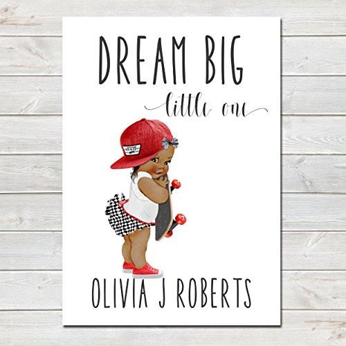 Dream Big Little One Personalised Poster Little Girl Skater Dark Brown Skin