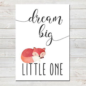 Dream Big Little One Children's Poster Sleeping Fox Nursery Print