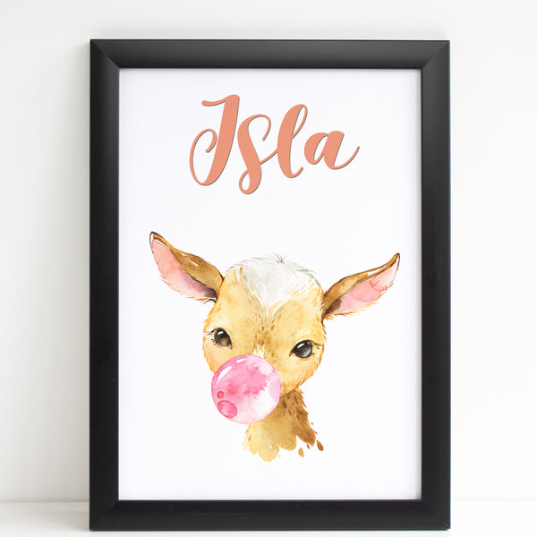 Baby Goat Print, Cute Personalised Animal Print for Kids