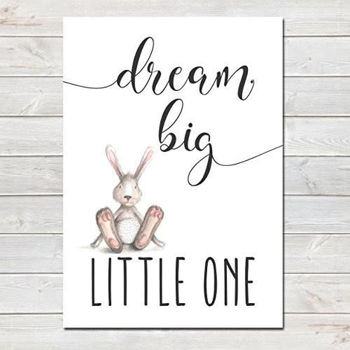 Dream Big Little One Children's Poster Grey Bunny Nursery Print- CLICK TO SEE MORE COLOURS- A4