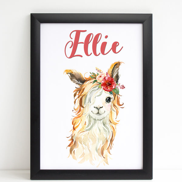 Baby Long Haired Llama Print, Cute Personalised Animal Print for Kids