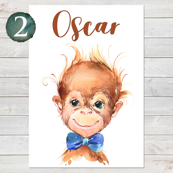 Baby Monkey Print, Cute Personalised Animal Print for Kids