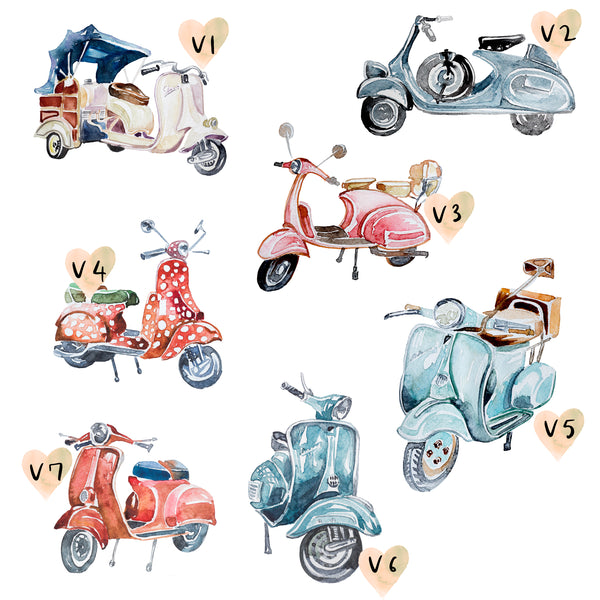 Moped Family Print, Wall Art Gift for Home Personalised in A3 or A4, Framed Available