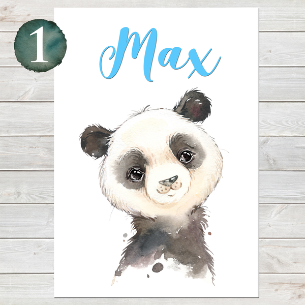 Baby Panda Print, Cute Personalised Animal Print for Kids