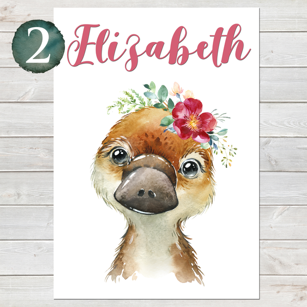 Baby Platypus Print, Cute Personalised Animal Print for Kids
