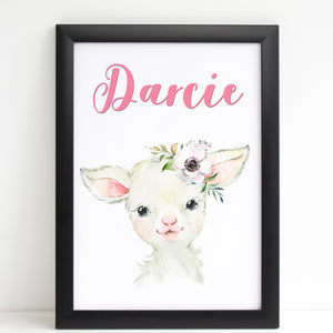 Baby Lamb Print, Cute Personalised Animal Print for Kids