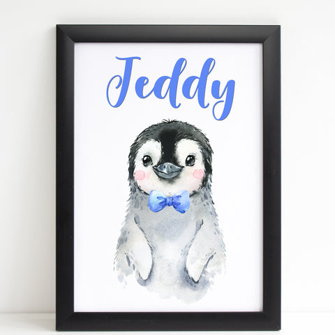 Baby Penguin Print, Cute Personalised Animal Print for Kids