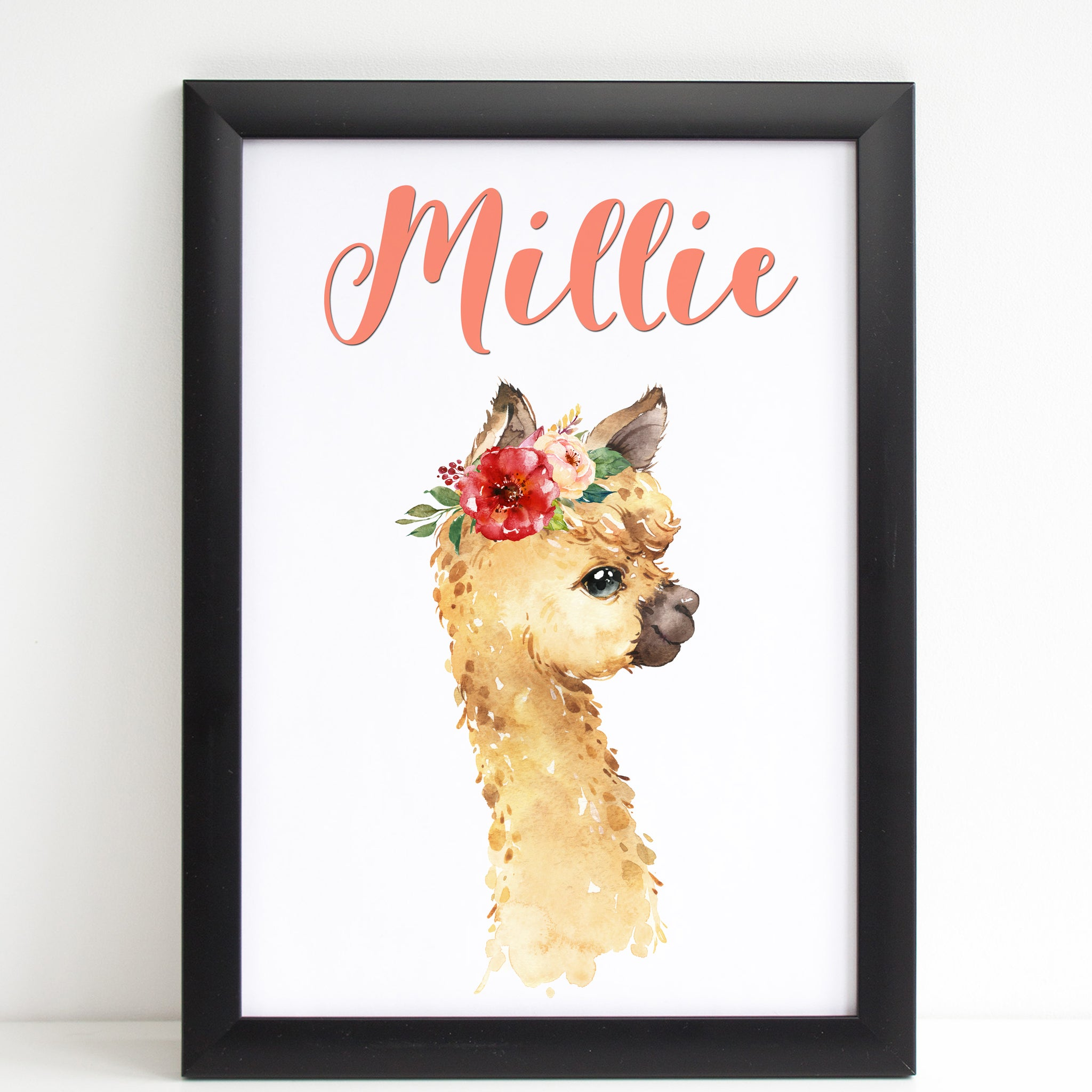 Baby Brown Llama Print, Cute Personalised Animal Print for Kids, A4 or A3