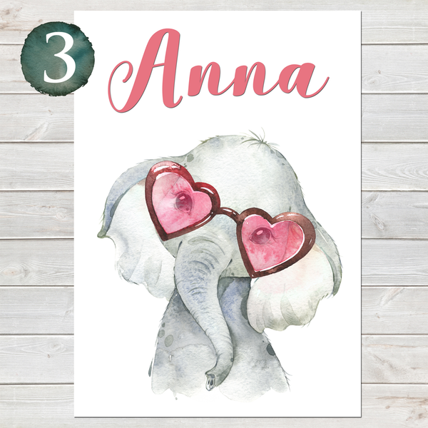 Baby Elephant Print, Cute Personalised Animal Print for Kids, A4 or A3