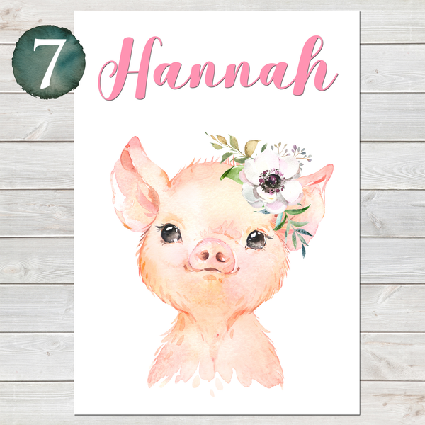 Baby Pig Print, Cute Personalised Animal Print for Kids