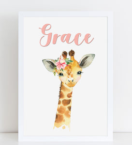 Baby Giraffe Print, Cute Personalised Animal Print for Kids