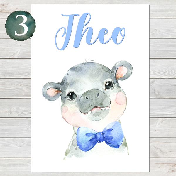 Baby Hippo Print, Cute Personalised Animal Print for Kids