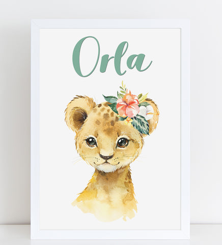 Baby Lion Print, Cute Personalised Animal Print for Kids, A4 or A3