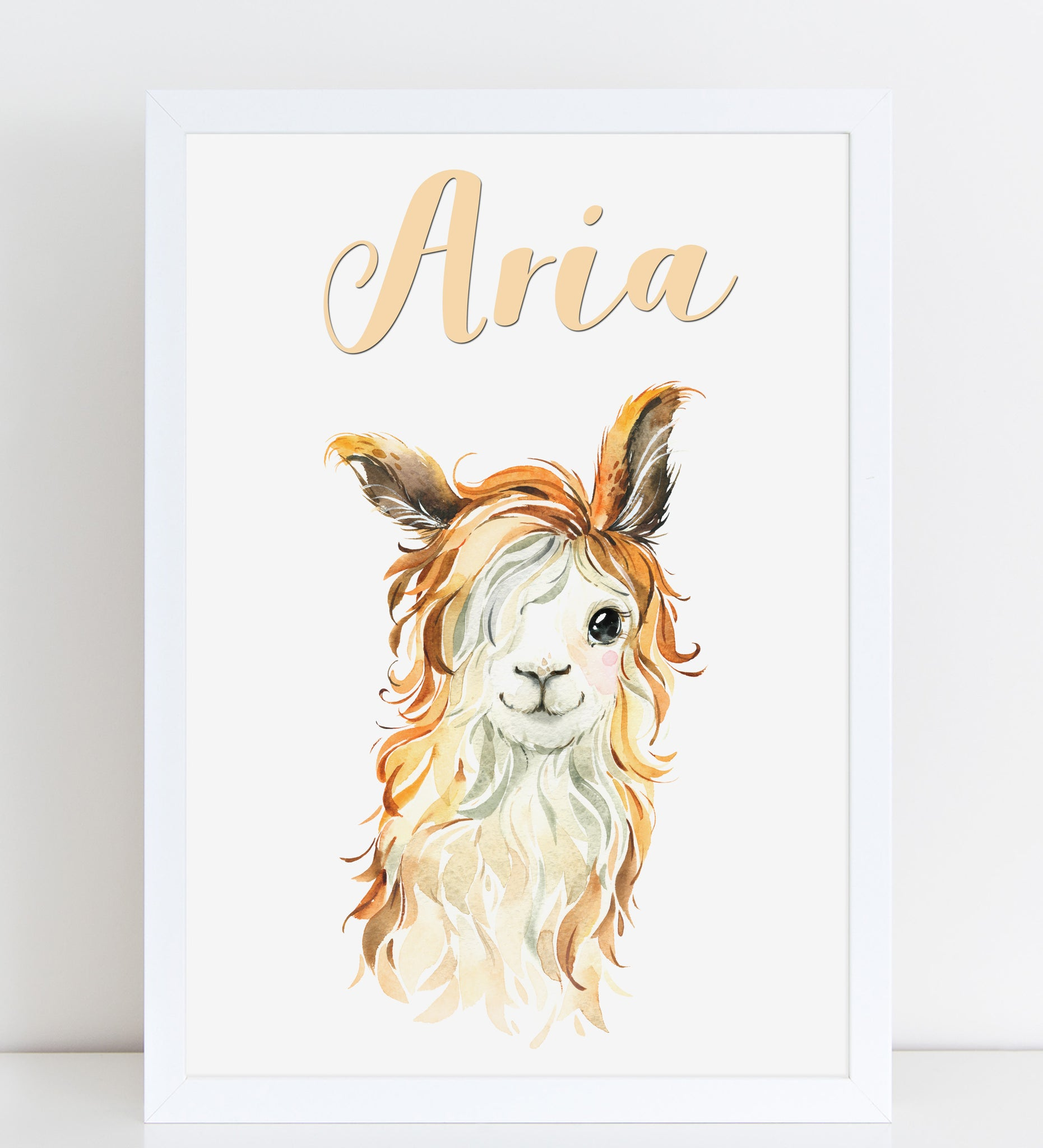 Baby Long Haired Llama Print, Cute Personalised Animal Print for Kids, A4 or A3