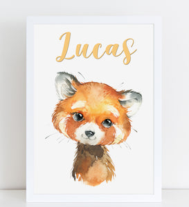 Baby Red Panda Print, Cute Personalised Animal Print for Kids