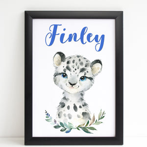 Baby Snow Leopard Print, Cute Personalised Animal Print for Kids, A4 or A3