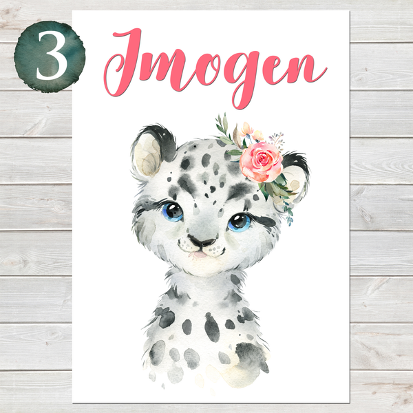 Baby Snow Leopard Print, Cute Personalised Animal Print for Kids